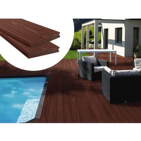 Lames de terrasse composite - Long: 2,4m - 1m2- Marron