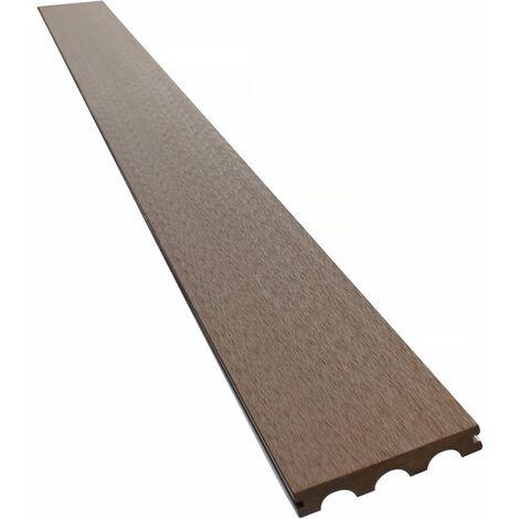 Lames de terrasse composite pleines - Long: 2,4m -1 m2- Marron
