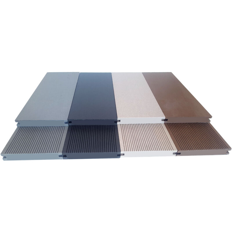 Lames De Terrasse Pleine Composite 2.60m   Garantie 7 Ans   Réversibles    Gris Clair   LTP2600X1G