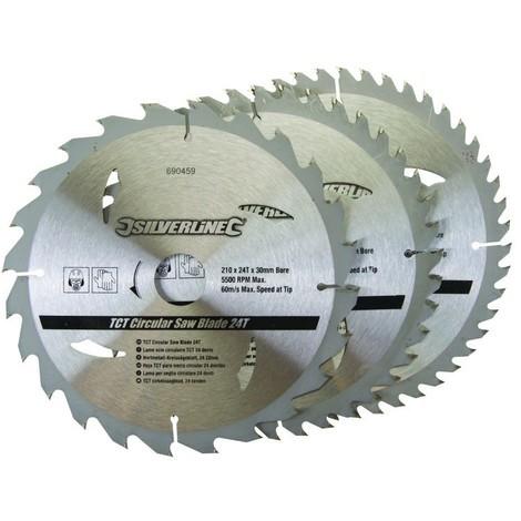 Lames TCT pour scie circulaire 24, 40 et 48 dents - 3 pcs Choix du modèle 210 x 30 mm - Bagues de 16 et 25 mm