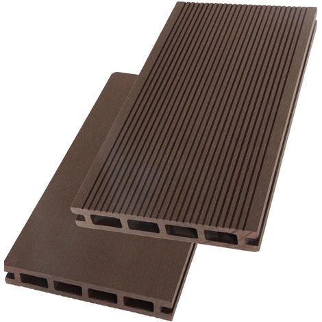 Lames terrasse composite choc. 2.60m - Garantie 7 ans - réversibles - Couleur Chocolat