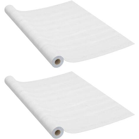 Láminas autoadhesivas muebles 2 uds PVC madera blanca 500x90 cm