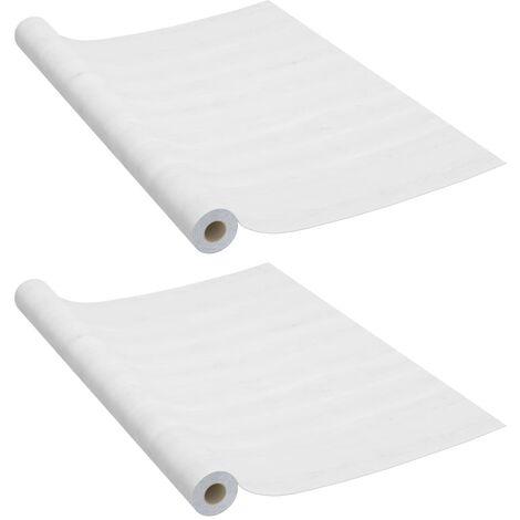 Láminas autoadhesivas puertas 2 uds PVC madera blanca 210x90cm
