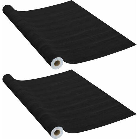 Láminas autoadhesivas puertas 2 uds PVC madera oscuro 210x90cm