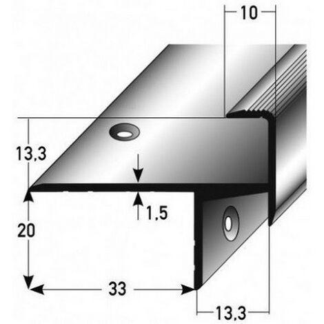 "Laminat-Parkett-Treppenkante / Winkelprofil ""Cardale"", Einfasshöhe 13,3 mm, 33 mm breit, Aluminium eloxiert, gebohrt"