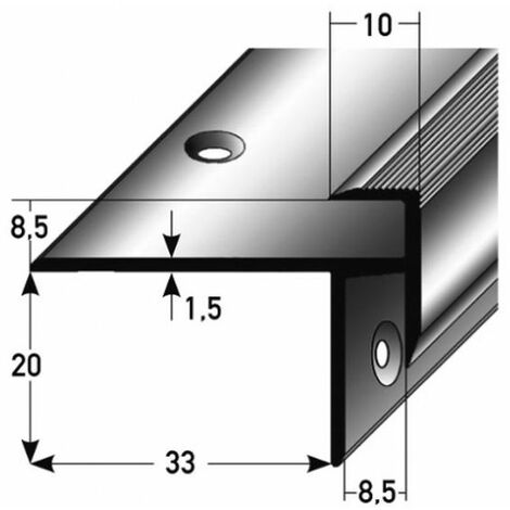 "Laminat-Treppenkante ""Lively"" / Winkelprofil, Einfasshöhe 8,5 mm, 33 mm breit, Aluminium eloxiert, gebohrt-silber-1000"