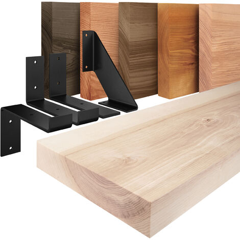 LAMO Manufaktur Wandregal Holz Gerade Schweberegal mit 2 Regalträgern L