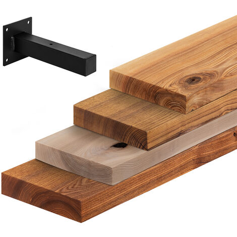 LAMO Manufaktur Wandregal Holz, Hängeregal gerade Kante, Bücherregal inkl. Wandhalterung