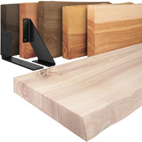 LAMO Manufaktur Wandregal Holz, Holzregal Baumkante, inkl. Regalwinkel schwarz