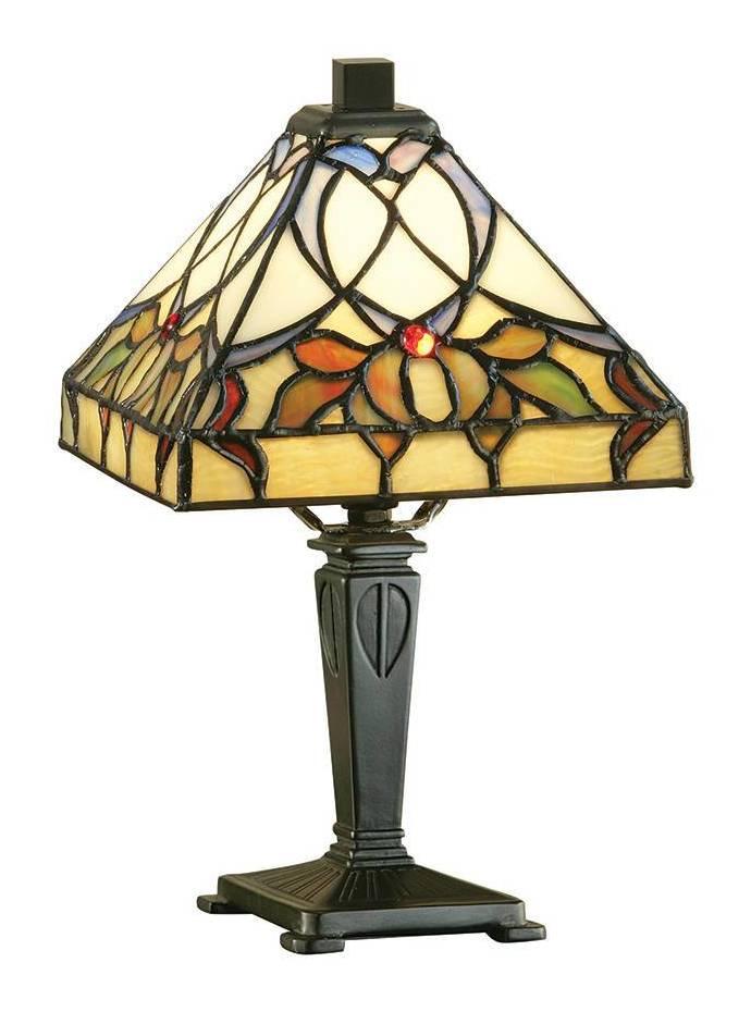 Image of Interiors Alcea - 1 Light Mini Table Lamp Dark Bronze, Tiffany Glass, E14
