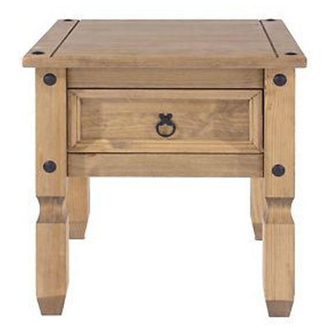 Lamp Table in Mexican Style with Quality Waxed Finish - Solid Wooden