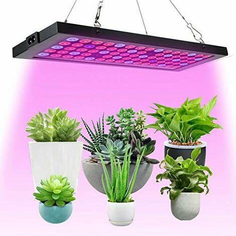 Lampada a LED Grow per piante da interni, a spettro completo, 100 W, lampada per piante, per serre, idroponica, verdure, piante grasse, sementi e fiori (75 LED)