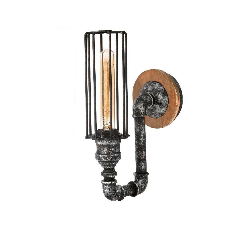 Lampada a Parete Douby II - Applique - da Soggiorno, Camera - Nero, Argento in Metallo, 12 x 21 x 32 cm, 1 x E27, Max 100W