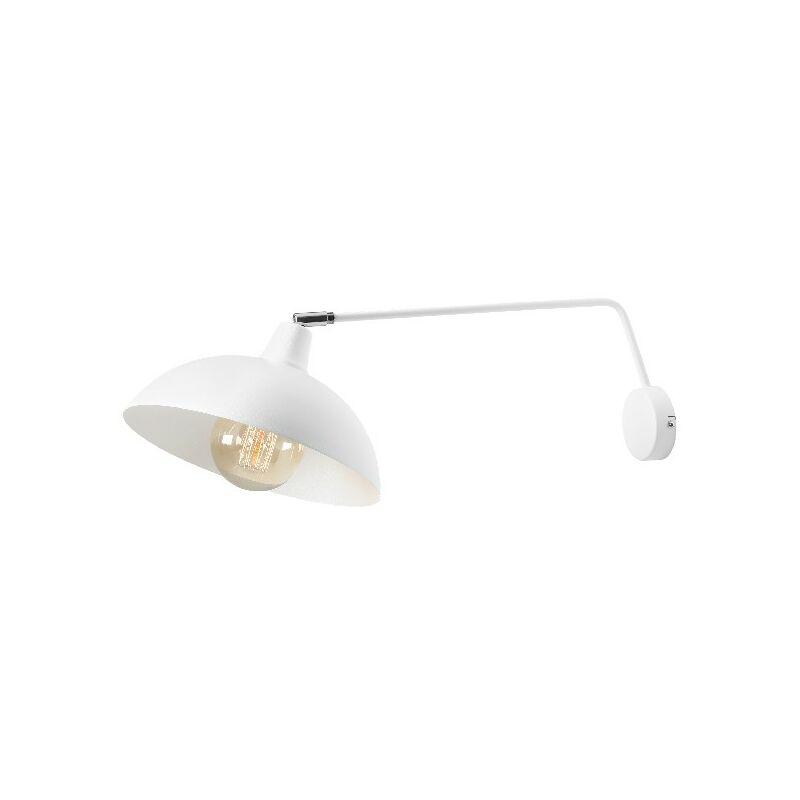 Lampada a Parete Focus 1 - Applique - da Soggiorno, Camera - Bianco in Metallo, 27 x 60 x 19 cm, 1 x E27, 60W - HOMEMANIA