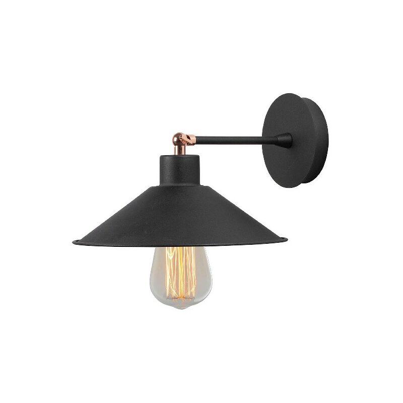 Lampada a Parete Hat2 - Applique - da Soggiorno, Camera - Nero in Metallo, 24 x 25 x 20 cm, 1 x E27, Max 100W