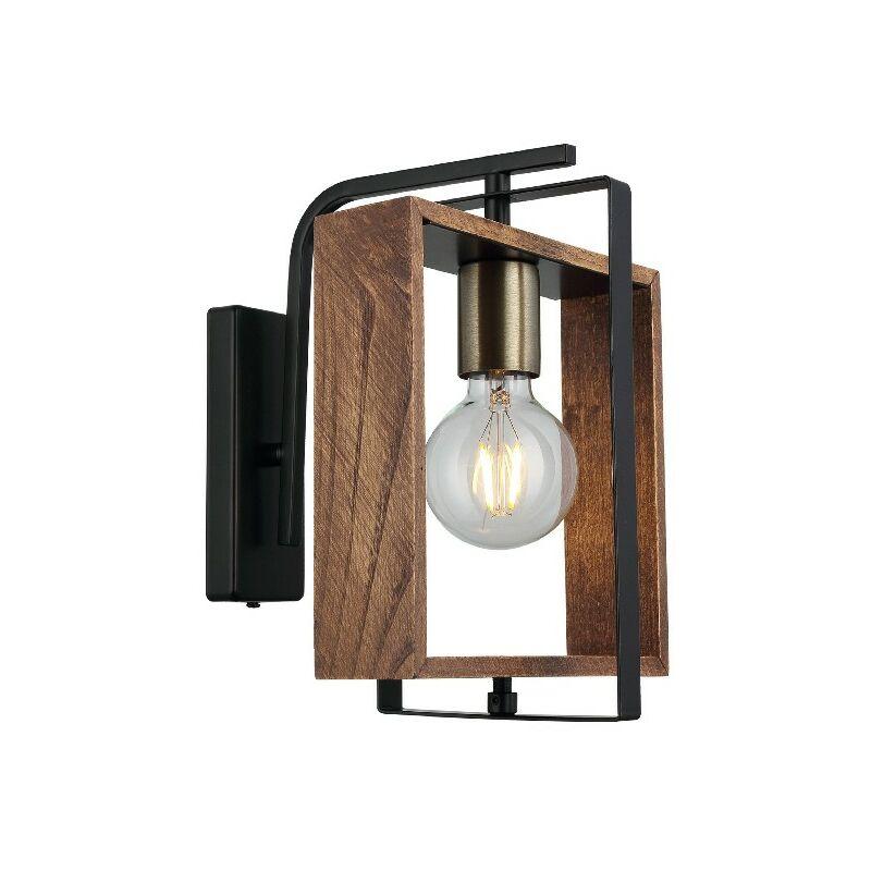 Homemania - Lampada a Parete Karo - Applique - Oro, Nero, Legno Metallo, Legno, 24 x 22 x 29 cm, 1 x E27, Max 40W