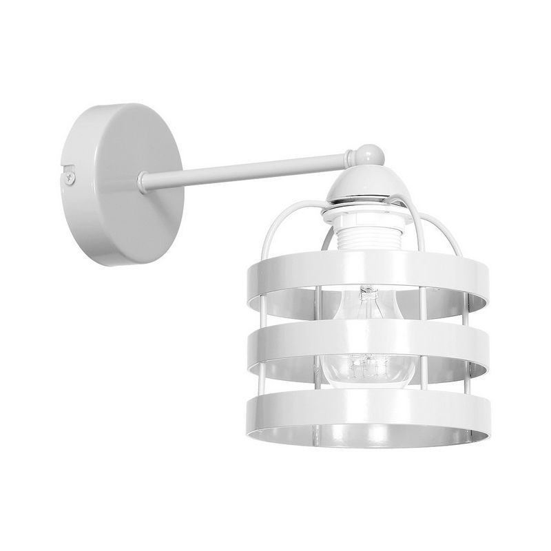 Homemania - Lampada a Parete Lars White - Applique - per Soggiorno, Camera - Bianco in Metallo, 15 x 27 x 23 cm, 1 x E27, 60 W