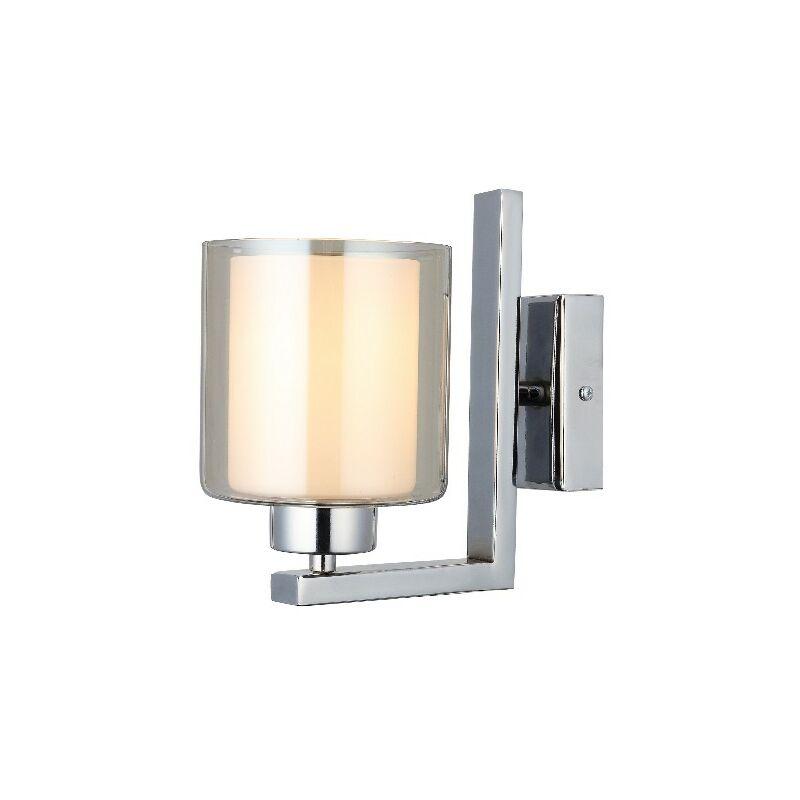 Homemania - Lampada a Parete Voda - Applique - Cromo Metallo, Vetro, 12 x 21 x 20 cm, 1 x E27, Max 40W