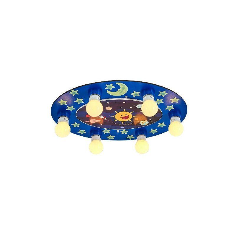 Homemania - Lampada a Soffitto Stars Plafoniera - Rotonda - da Parete - Blu in Legno, 55 x 42 x 6 cm, 6 x E27, 24W