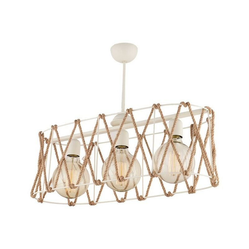 Homemania - Lampada a Sospensione Bendis - Lampadario a 3 Luci - da Soffitto - Bianco in Metallo, Corda, 60 x 28 x 45 cm, 3 x E27, 60W