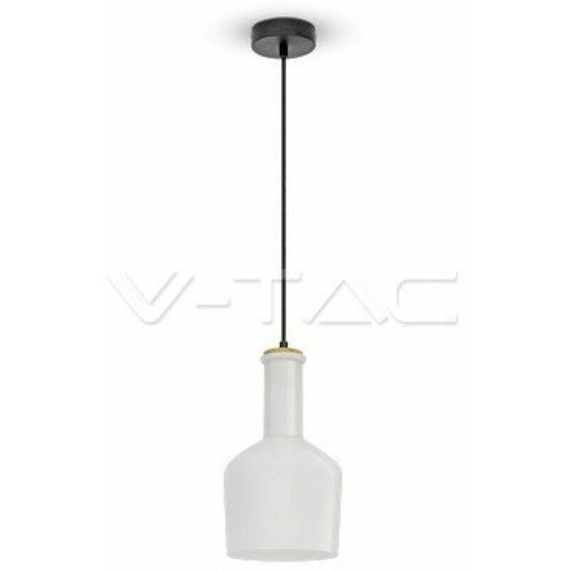 Lampadario LED V-TAC in Vetro e Legno con Portalampada E27 (Max 60W) Colore Bianco Lucido