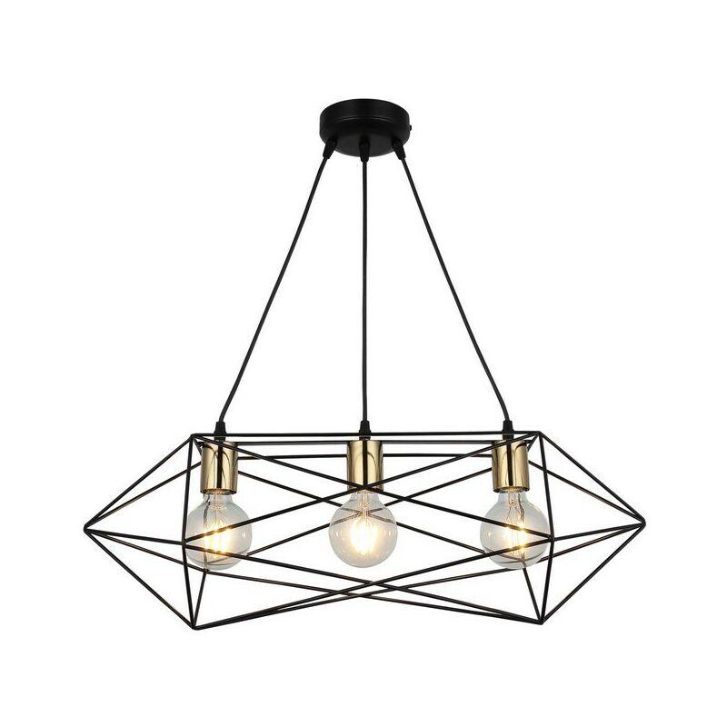 Lampada a Sospensione Este Lampadario - da Soffitto Oro, Nero Metallo, 22 x 64 x 115 cm, 3 x E27, 40W