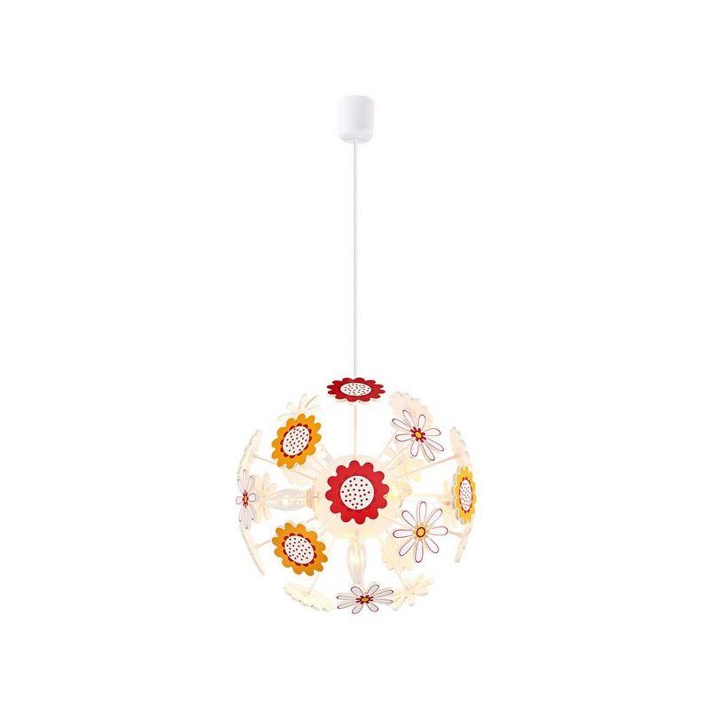 Homemania - Lampada a Sospensione Flowers Lampadario - Rotondo - da Soffitto -Multicolore 40 x 40 x 80 cm, 4 x E14, 13W