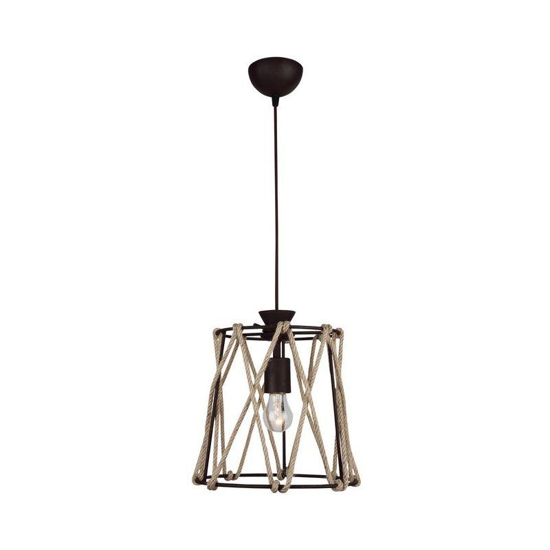 Lampada a Sospensione Fune - Plafoniera - da Parete - Marrone in Metallo, Corda, 25 x 25 x 85 cm, 1 x E27, 40 W - HOMEMANIA
