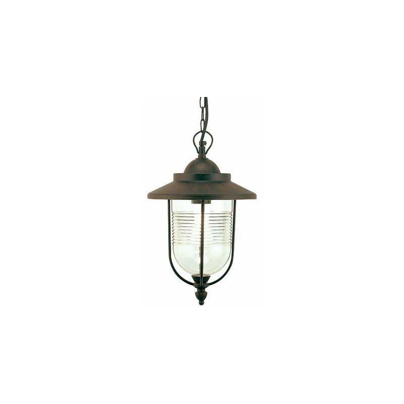 Lampada a sospensione grande E27 colore ruggine per giardino. Lampadario lanterna sospesa Sovil, da esterno.