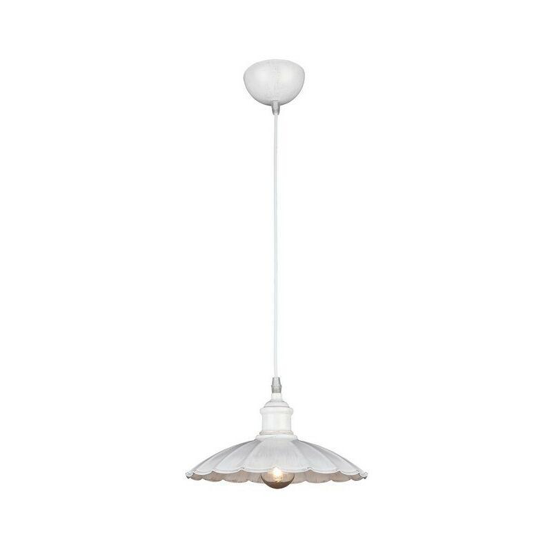 Homemania - Lampada a Sospensione Ibiza - Lampadario - da Soffitto - Bianco Metallo, 25 x 25 x 80 cm, 1 x E27, 40 W