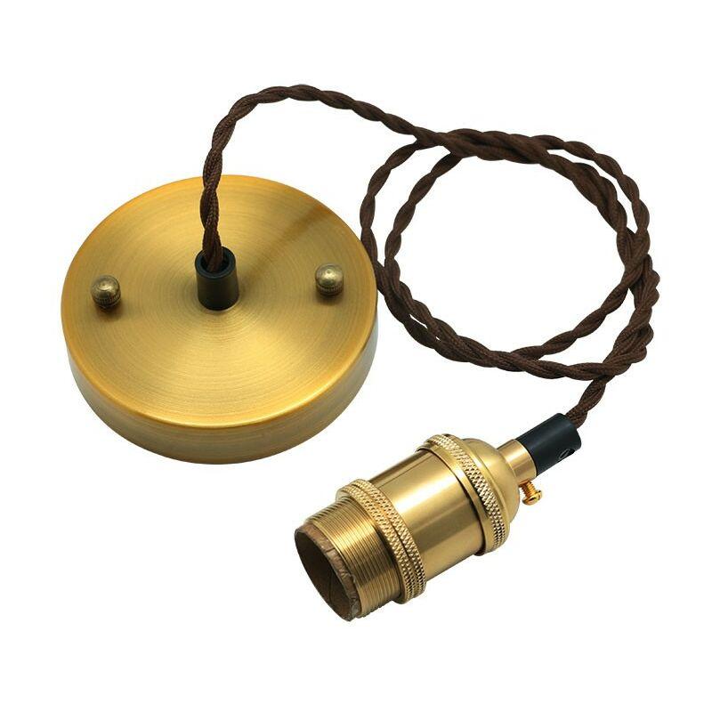 Eclairage Design - Lampada a sospensione in metallo dorato E27 RETRO CHIC cavo tessile