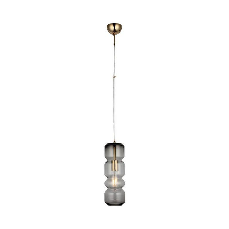 Lampada a Sospensione Kanu Lampadario - da Soffitto Oro, Trasparente Metallo, Vetro, 12 x 12 x 110 cm, 1 x E27, 40W