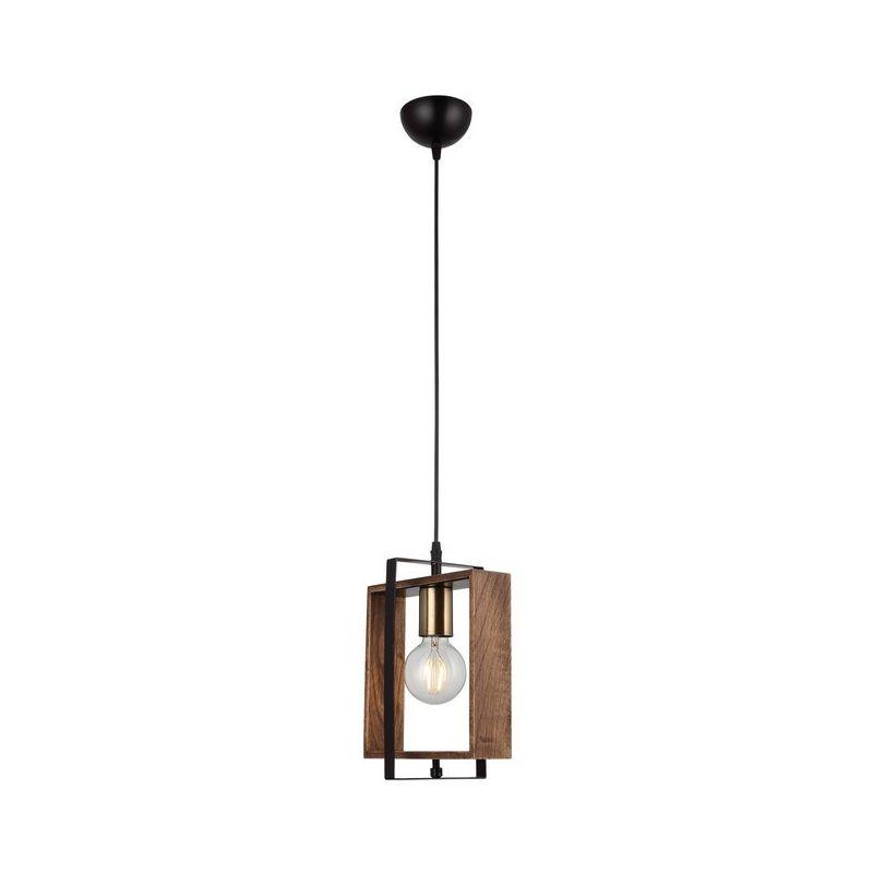 Homemania - Lampada a Sospensione Karo - Lampadario - da Soffitto - Oro, Nero, Legno Metallo, Legno, 14 x 22 x 82 cm, 1 x E27, Max 40W