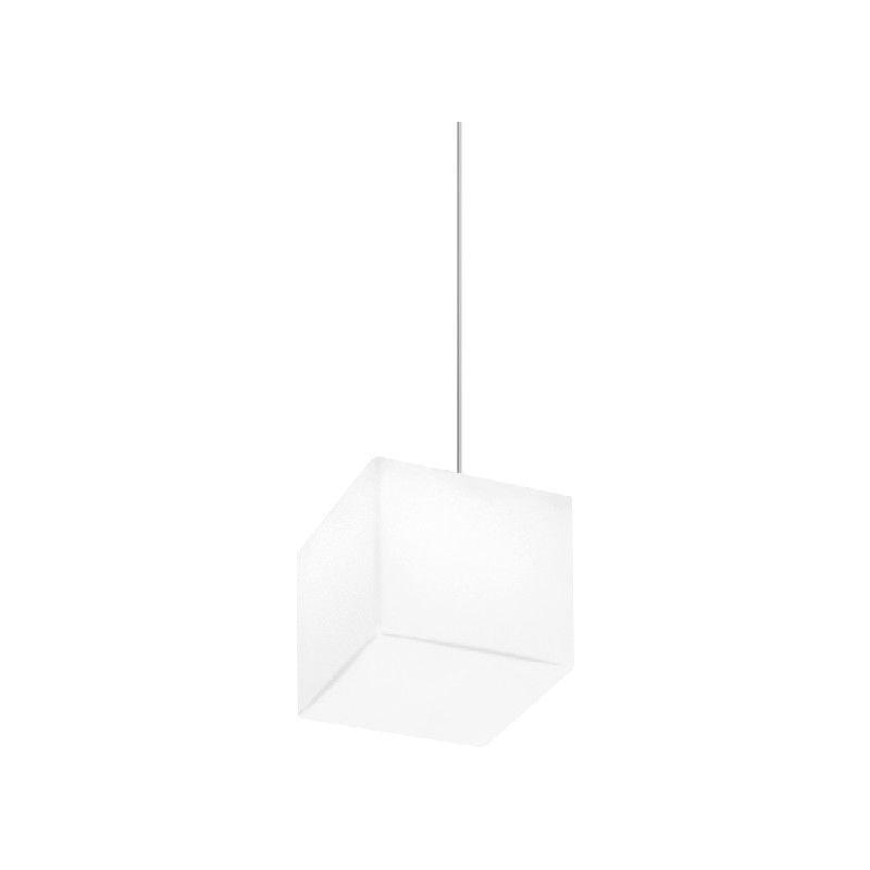 Homemania - Lampada a Sospensione Kubik - Lampadario - da Soffitto - Bianco, Grigio in Vetro, 11 x 11 x 11 cm, 1 x E27, 9,5W, 220-240V