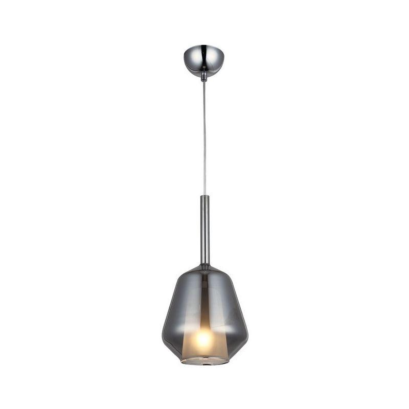 Homemania - Lampada a Sospensione Onda Lampadario - da Soffitto Cromo Metallo, Vetro, 18 x 18 x 90 cm, 1 x E27, 40W