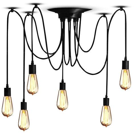 Lampadari Con Solo Lampadine.Lampada A Sospensione Per Soffitto 6 Teste Lampadario Corda