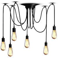 Lampada a sospensione per soffitto 6 teste lampadario corda plafoniera pendente