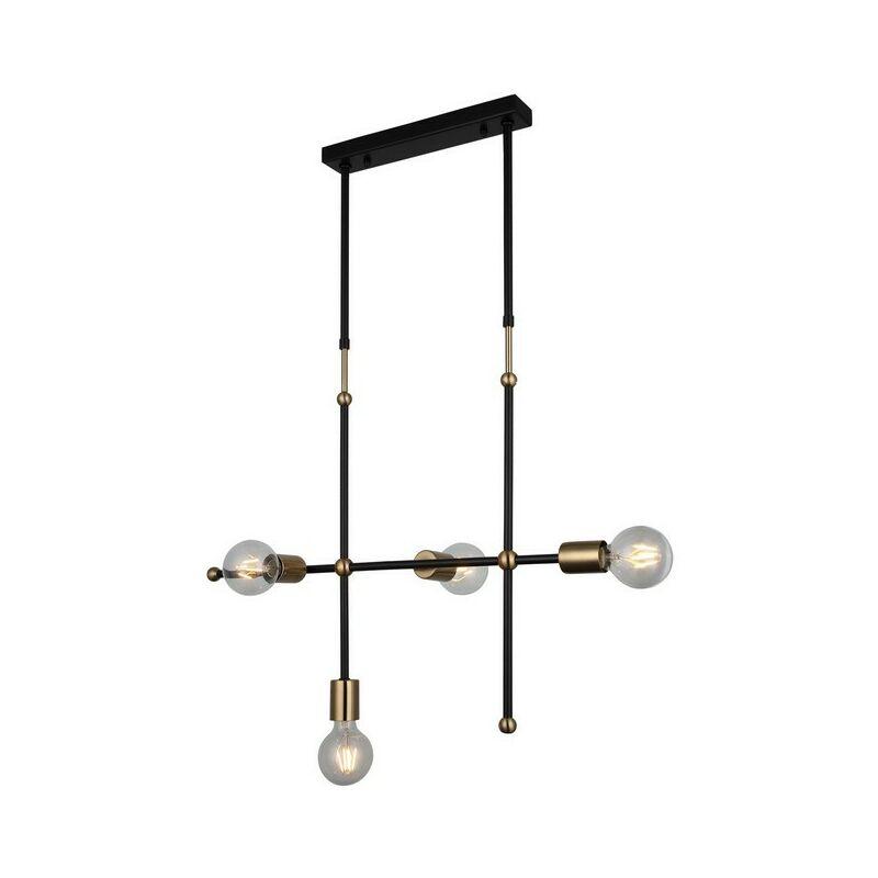 Homemania - Lampada a Sospensione Rena Lampadario - da Soffitto Oro, Nero Metallo, 16 x 68 x 112 cm, 4 x E27, 40W