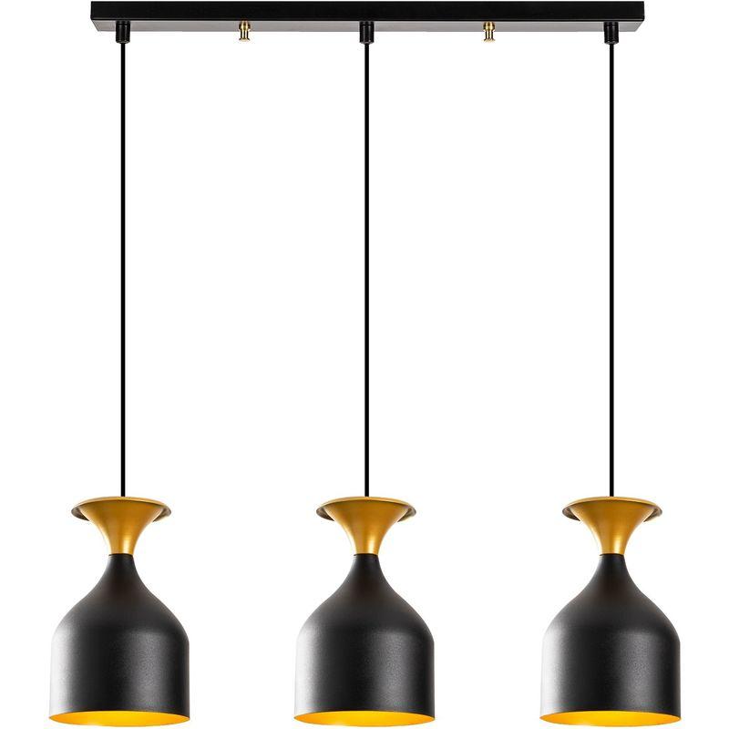 Lampada A Sospensione 'Sivani' Nero/Oro 3 x E 27 Senza Lampadina [OPV-527ABY1820] (OPV-527ABY1820)