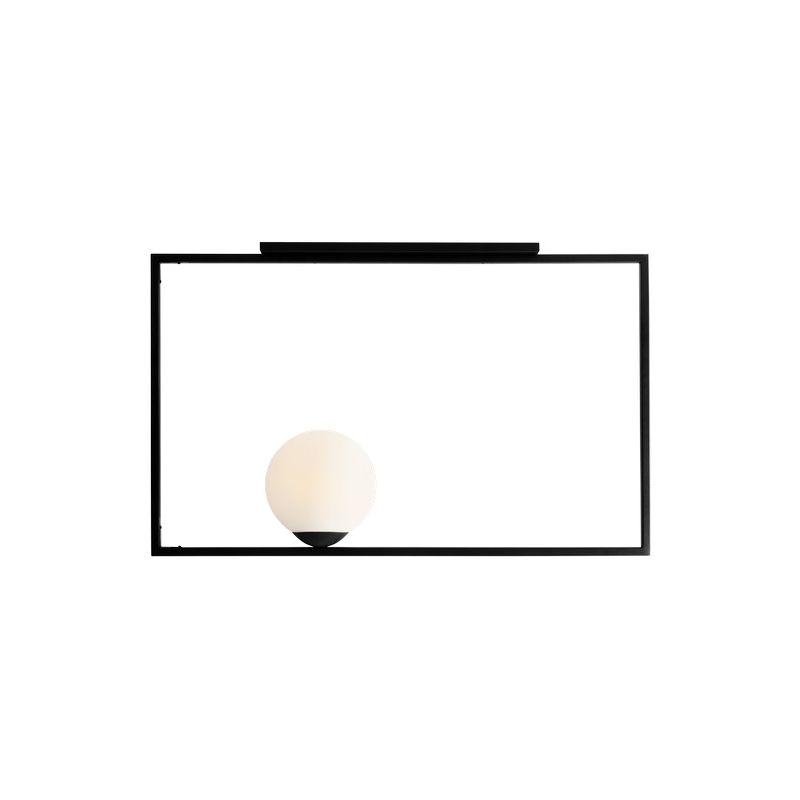 Homemania - Lampada a Sospensione Square - Lampadario - da Soffitto - Nero in Metallo, 90 x 20 x 57 cm, 1 x E27, 60W
