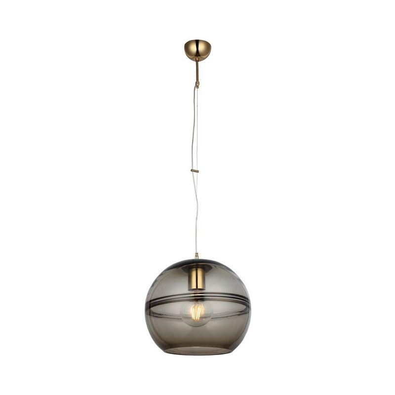Homemania - Lampada a Sospensione Vena Lampadario - da Soffitto Oro, Fumo Metallo, Vetro, 30 x 30 x 102 cm, 1 x E27, 40W