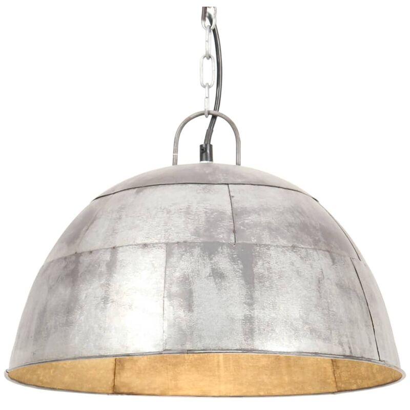 vidaXL Lampada a Sospensione Vintage 25 W Argento Rotonda 41 cm E27 - Plateado
