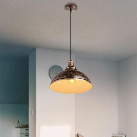Lampada a Sospensione Vintage Luce Sospesa in Metallo Lampadario Moderno Classico Luce Pendente Industriale in Ferro Ruggine (2 Pezzi)