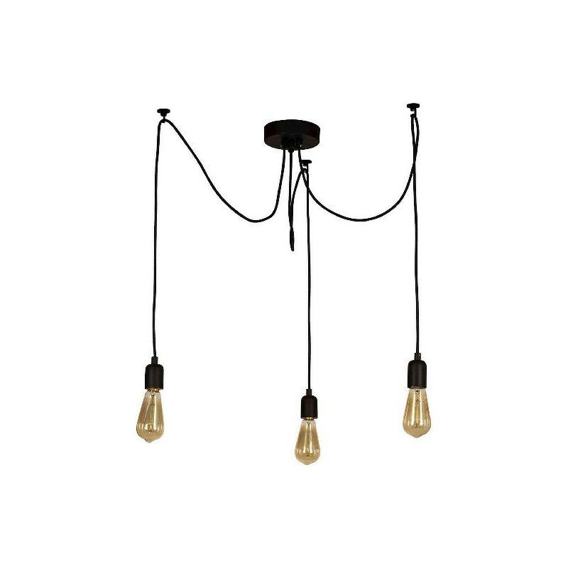 Lampada a Sospensione Wire - Lampadario - da Soffitto - Nero in Metallo, 180 x 180 x 93 cm, 3 x E27, Max 60W