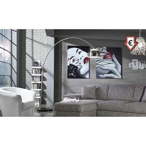 Arco Ad Base Con Lampada Media Alluminio Satinato In Circolare N8m0wnvO