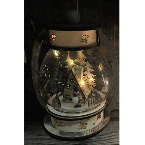 Lampada Ad Olio C Casetta Wood Charm 25 Cm C Gocce Led Batt