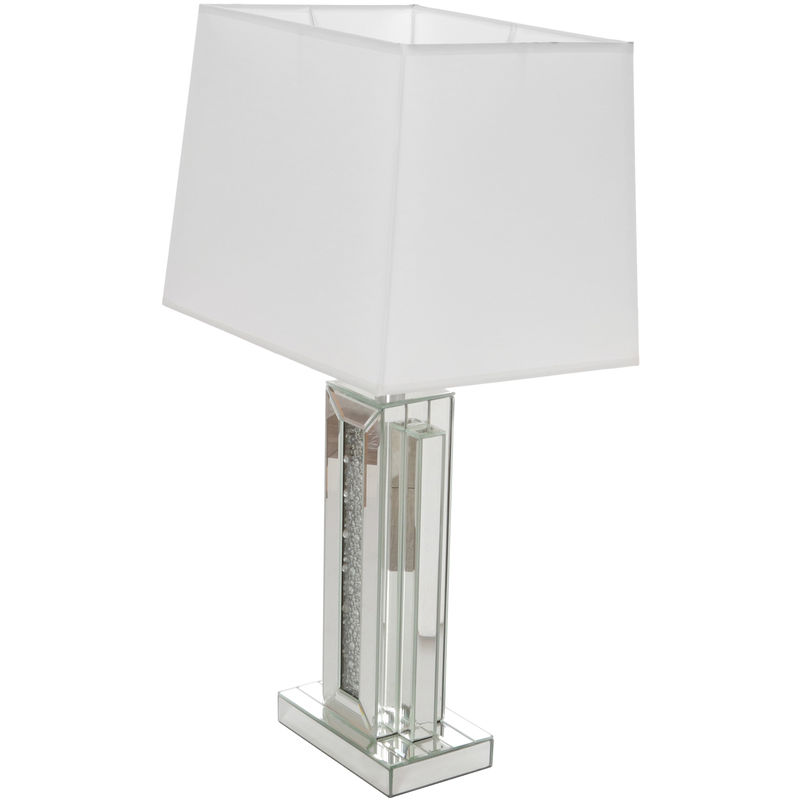 Lampada Con Paralume In Tessuto In Vetro E Mdf, Da 38x73x29 Cm Bianco