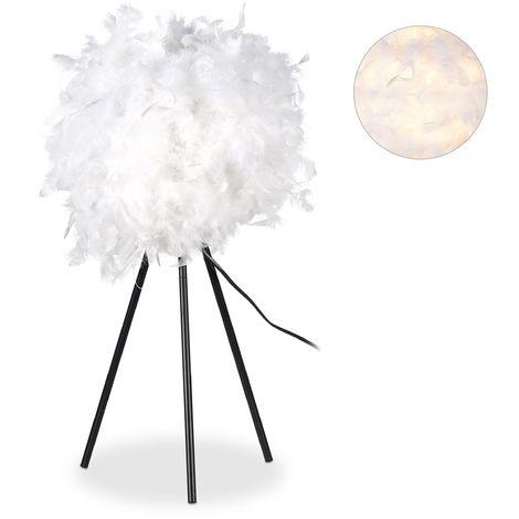 Lampada con Piume per il Comodino per la Camera da Letto, Moderna Tonda Attacco E 27 10 Watt Alta 60 cm Bianca