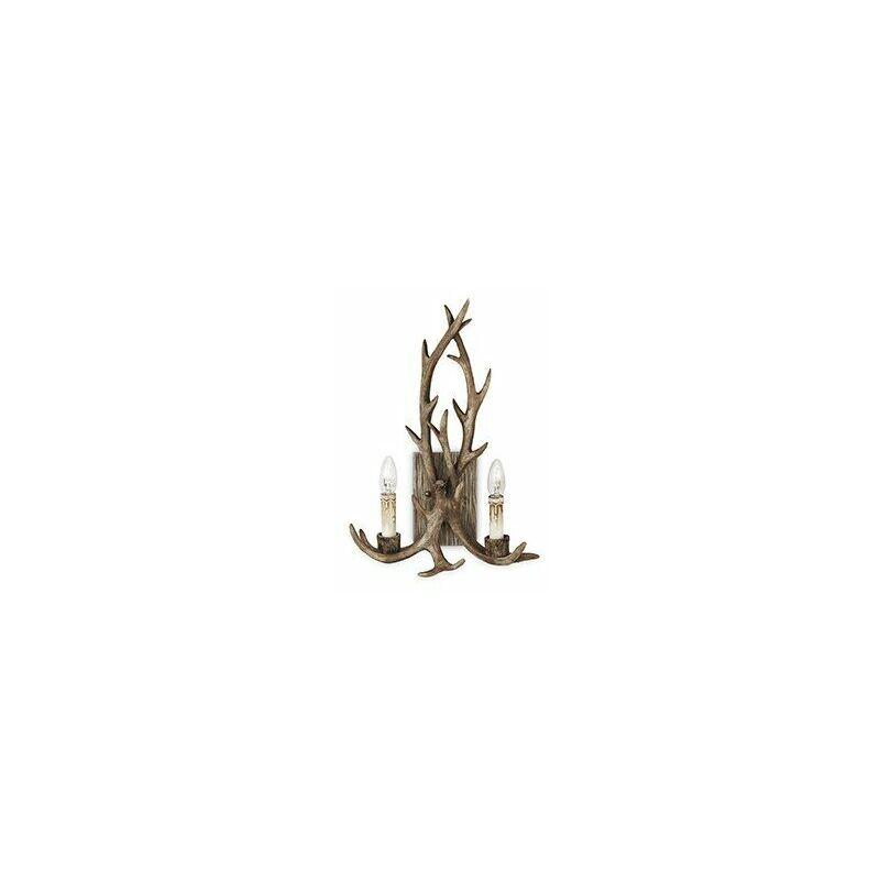 Lampada da parete chalet in resina lavorata e dipinta a mano come fedele riproduzione di corna a due luci - IDEAL LUX