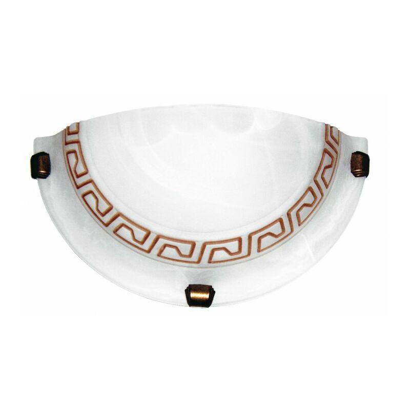 Applique dal design classico bianca anticato con greca marrone 60 watt E27 - SHOP-DAY